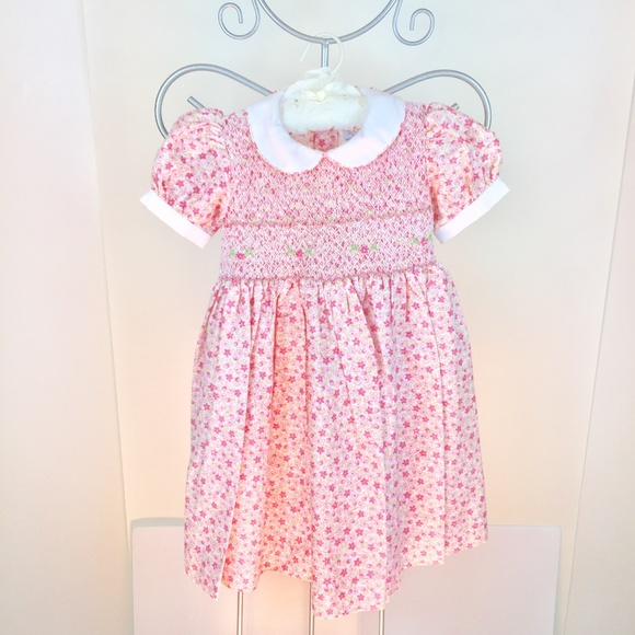 6455d4a09d91b Friedknit Creations Dresses | Carriage Boutiques Pink Floral Smocked ...